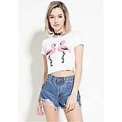 Amazon ebay aliexpress europa explosión modelos cultivando wild flamingo t-shirt casual corto párrafo lo shi
