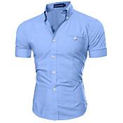 Men's Slim Shirt - Solid Colored Classic ...