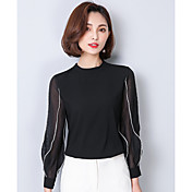 Mujer Simple Noche Casual/Diario Verano Otoño Camiseta,Escote Redondo Bloques Retazos Manga Larga Seda Translúcido
