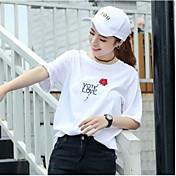 Mujer Simple Noche Casual/Diario Camiseta,Escote Redondo Bordado Manga Corta Poliéster