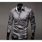 Men's Work Cotton Slim Shirt - Solid Colo...