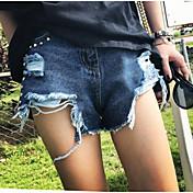 レディース ストリートファッション ミッドライズ ワイドレッグ マイクロエラスティック ジーンズ ショーツ パンツ ソリッド
