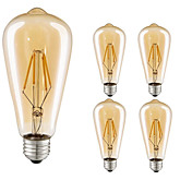 5pcs 4W 360lm E26 / E27 LED Filament Bulb...