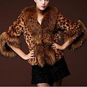 Mujer Glamouroso Casual/Diario Invierno Abrigo de Piel,Cuello de Peter Pan Leopardo Poliuretano Corto