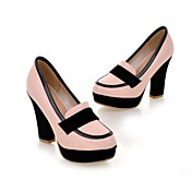 Mujer Zapatos Semicuero Primavera Otoño Confort Tacones Tacón Robusto Dedo redondo Combinación Para Casual Vestido Blanco Rosa