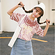 Mujer Chic de Calle Noche Camiseta,Escote Redondo Un Color Manga Corta Algodón