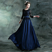 A-Line Jewel Neck Floor Length Chiffon Sa...