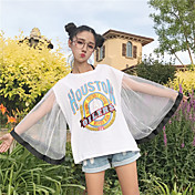 Mujer Bonito Casual/Diario Camiseta,Escote Redondo Estampado Letra Media Manga Algodón Poliéster