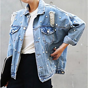 Women's Denim Jacket - Solid Colored Shir...
