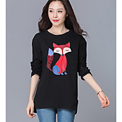 Mujer Simple Casual/Diario Camiseta,Escote Redondo Estampado Animal Manga Larga Otro