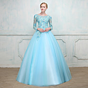 Ball Gown Scoop Neck Floor Length Lace Ov...