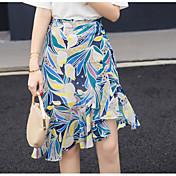 Mujer Playa Asimétrico Faldas,Corte Sirena Verano Bloque de Color