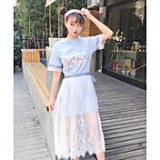 Mujer Simple Chic de Calle Noche Casual/Diario Verano T-Shirt Falda Trajes,Escote Redondo Floral Manga Corta Inelástica