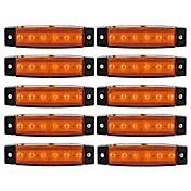 Ziqiao 10 stk 12v 6led side markeringsindikatorer lys lampe til bil lastbil trailer lastbil bus 6 ledet gul / hvid / rød