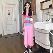 Mujer Recto Vestido Casual/Diario Un Color Escote Redondo Midi Sin Mangas Algodón Verano Tiro Medio Microelástico Fino