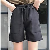 レディース シンプル ハイライズ ストレート マイクロエラスティック ショーツ パンツ ソリッド
