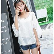 Mujer Simple Casual/Diario Verano Camiseta,Escote Redondo Un Color Media Manga Acrílico Medio