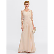 Sheath / Column V Neck Floor Length Chiff...