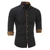 Men's Vintage Cotton Slim Shirt - Solid C...