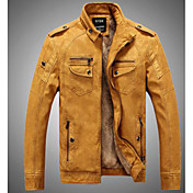 Men's Leather Jacket - Solid Colored Stand