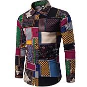 Men's Boho Cotton Slim Shirt - Plaid Spre...