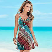 Women's Beach Boho Cotton Shift Dress - R...