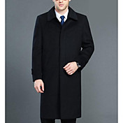 Men's Work Long Cotton Overcoat - Solid C...