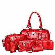 Bags PU Bag Set 6 Pieces Purse Set Button...