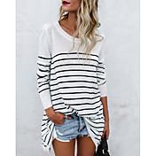 Women's Basic Cotton Loose T-shirt - Striped