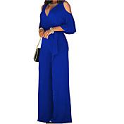 Women's Cotton Jumpsuit - Solid Colored, ...