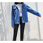 Women's Vintage Denim Jacket-Solid Colore...