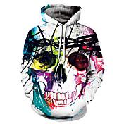 Men's Long Sleeves Loose Hoodie - Skull H...