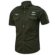 Men's Military Plus Size Cotton Slim Shir...