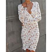 Women's Puff Sleeve Denim Dress - Solid C...