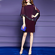 Women's Batwing Sleeve Sheath Dress - Sol...