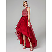 Ball Gown Jewel Neck Asymmetrical Satin T...