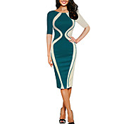 Women's Cotton Slim Bodycon Dress - Solid...