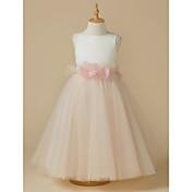 A-Line Tea Length Flower Girl Dress - Sat...