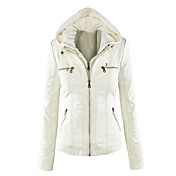 Women's Plus Size Leather Jacket - Solid ...
