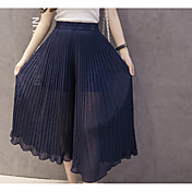 Women's Cute Wide Leg Pants - Solid Colored