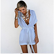 Women's Holiday Cotton Romper - Solid Col...