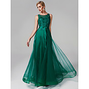 A-Line Scoop Neck Floor Length Tulle / Be...