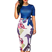 Women's Slim Bodycon Dress - Floral Print...
