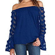 Women's Blouse - Solid Colored Boat Neck ...