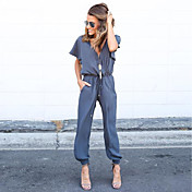 Women's Jumpsuit - Solid Colored, Lace up