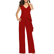 Women's Jumpsuit - Solid Colored, Ruffle ...