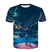 Men's Cotton T-shirt - Geometric Round Ne...