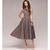 Women's Daily Swing Dress - Polka Dot Bro...