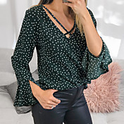 Women's Basic Blouse - Polka Dot