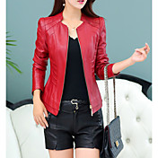 women's pu leather jacket - solid colored